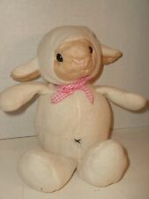 "Best Made Toys SHEEP LAMB Fleece PINK GINGHAM BOW Cream/Ivory Tan Face 9"" Soft"