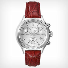 Timex Women's T2P419 Chronograph White Dial Red Leather Quartz Watch