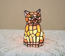 "sold out!8.5""H Stained Glass Tiffany Style Kitty Cat Night Light Table Desk Lamp"