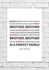 Kodaline - Perfect World - Song Lyric Art Poster - A4 Size