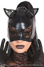 Wet look cat mask lace detail black fancy dress ears Coquette CQD2245 sexy new
