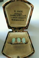 Hallmarked 9ct Gold 3 Stone Opal Ring. Size N. Very Good Condition