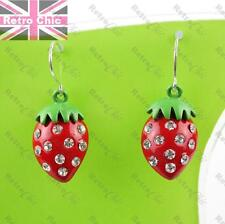 Red strawberry drop earrings with sparkly austrian gem crystals enamelled metal