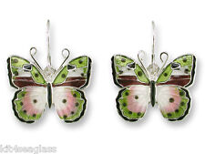 Zarah Zarlite African Pink Forester Butterfly EARRINGS Silver Plated Enamel  Box