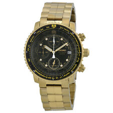 Seiko Flight Chronograph Gold-Tone Steel Mens Watch SNA414