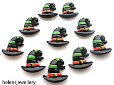 10 HALLOWEEN STRIPEY HAT KITCH CABOCHONS KAWAII DECODEN - FAST FREE SHIPPING
