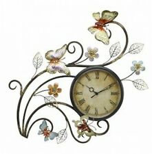 Shabby Chic Large Contemporary Metal Wall Art Sculpture Butterfly Clock 40 cm