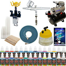 DUAL-ACTION AIRBRUSH KIT Air Compressor 24 US Art Supply Paint Color Set Gift