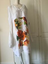 Tunic by Sarah Santos of Italy in White Linen with Screen Print Floral Design