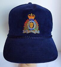 Royal Canadian Mounted Police Corduroy Snapback Hat Navy Embroidered RCMP Crest