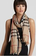 NWT BURBERRY Giant Check Crinkle Scarf Camel Check