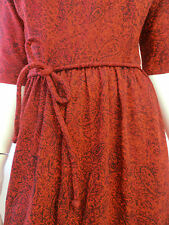 VINTAGE RED paisley mod dress DAVID CRYSTAL COUTURE W.25 paisley red/orange