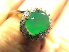 ATURAL AVENTURINE SAPPHIRE PRINCESS RING 8 STERLING 925 SILVER WHITE GOLD