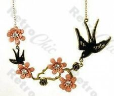 ART DECO vintage brass SWALLOW & PINK BLOSSOM rose NECKLACE bird FLOWER crystal