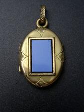 Ancien porte photo pendentif en plaque or et opaline reliquaire