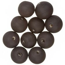 Matte Opaque Dark Brown Round Glass Beads 12mm Pack of 10 (A49/1)