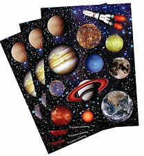3 Sheets SPACE Planets Rocket Ship Stickers! Jupiter Saturn Mars EARTH