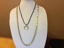 $34.50 Lucky Brand Gold and Leather Multi-Layer Necklace w/Pendant (2) 323