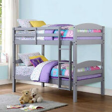 Wood Bunk Bed Twin over Twin Convertible Bunkbeds Kids Ladder Furniture Gray