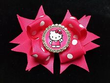 "HELLO KITTY HANDMADE HAIR BOW 3.5"" RHINESTONE CABOCHON EMBELLISHMENT HOT PINK"