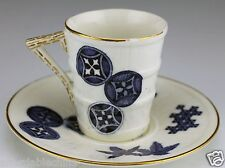 Royal Worcester 19th Century Aesthetic Blue White Barrel Demitasse Cup & Saucer