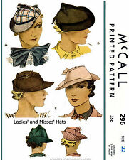 Brimmed Hats Fabric Sewing Pattern McCall #296 Millinery Cap Alopecia Chemo 30's