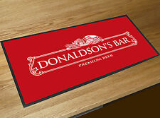 Personalised White Beer Label Red bar runner home bar counter mat