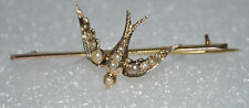 Georgian 9ct Yellow Gold Pearl Set Swallow Brooch - Chester 1915