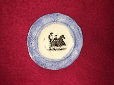 Staffordshire Spatterware Cup Plate Blue Spatter Transfer Horse Costume Ca. 1830
