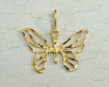 Brand New 14K Solid Yellow Gold Butterfly Pendant Charm