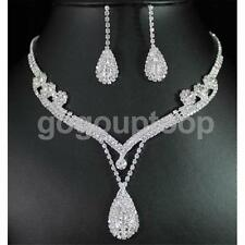 Crystal Rhinestone Water Drop Pendant Necklace Earrings Bridal Jewelry Set