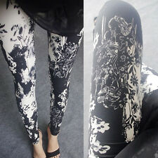 BLACK & WHITE Painterly FIORI Soft Leggings - 8 - 12 UK, bianco, floreale Natura