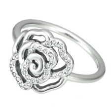 ROSE 925 Solid Sterling Silver White Pave Openwork Flower Ring Size 7.5 / 56