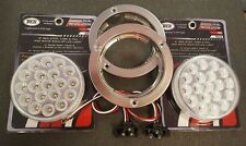 """(2) 19 LED Trux Dual Revolution 4"""" Round Clear Lens Stop Tail Back-Up Flange Kit"""