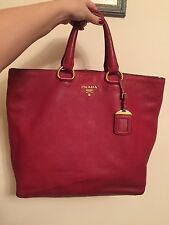 Authentic Prada BN1713 Vitello Daino Dark Red Leather Bag Handbag