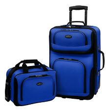 US Traveler Carry-on Rio 2-Piece Blue Rolling Luggage Expand Suitcase Tote Set