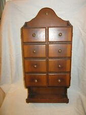 Vintage Colonial Primitive Wood Wall Hanging Apothecary Spice Cabinet Box Shelf
