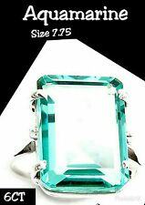 Cancer Fundraiser! 6CT Aquamarine 925 Solid Sterling Silver Ring Sz 7.75