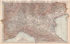 1896  LARGE ANTIQUE  MAP : ITALY NORTH LUCCA PESARO MILAN TURIN VENICE