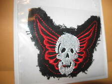 """New Winged SKULL iron-on PATCH sew-on 2 7/8"""" x 2 1/4"""" Offray polyester/cotton"""