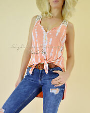 Coral Ivory BAMBOO TIE DYE Sleeveless Gypsy Long Tunic Casual Boho Tank Top M