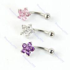 Fashion Flower Crystal Rhinestone Stunning Belly Navel Button Bar Ring Piercing