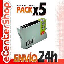 5 Cartuchos de Tinta Negra T0611 NON-OEM Epson Stylus D88 Plus 24H
