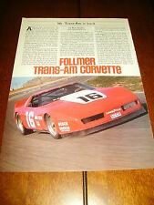 1984 GEORGE FOLLMER CORVETTE TRANS AM RACE CAR  ***ORIGINAL ARTICLE***