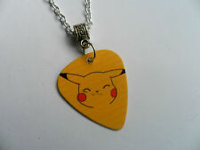 Pokemon  PIKACHU   Double Sided Guitar Pick  //  Plectrum  Silver  Necklace
