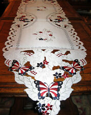 """Americana Decor Patriotic USA Flag Butterfly Embroidered Table Runner 68""""x 13"""""""