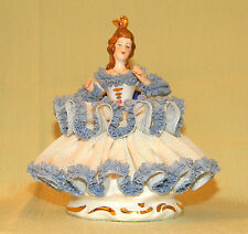 ANTIQUE DRESDEN Figurine Lady in Blue Dress Sitting on a Chair, GERMAN PORCELAIN