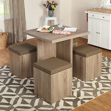 Contemporary 5 Pc Dining Set Table Ottoman Storage Dinette Chairs Kitchen Nook