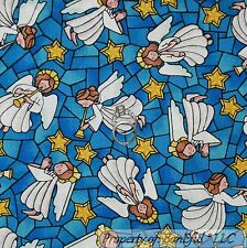 BonEful Fabric FQ Cotton Quilt Blue Yellow White ANGEL Star Mosaic Stained Glass