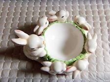 "Ceramic Mother Rabbit with 5 Babies Candle Ring   6-7"" across/ 3-5"" Tall"